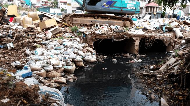 Rác thải, nước thải sinh hoạt của con người đổ ra môi trường